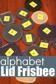 Alphabet Lid Frisbee Game : Fun activity to learn alphabet. Preschool Literacy, Early Literacy, Literacy Activities, Preschool Activities, Kindergarten, Learning Letters, Learning Activities, Kids Learning, Movement Activities