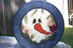 Snowman Winter Round Storage BoxHandpainted by Primgal on Etsy