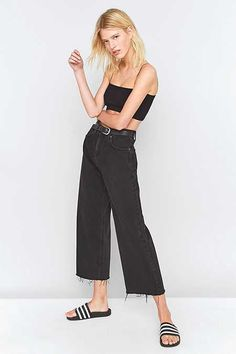 BDG Flood Wide Leg Black Jeans