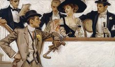 """LEYENDECKER via Collectors weekly // """"In this Leyendecker painting for Arrow dress shirts, all eyes lead to the puts the focus on the standing man."""""""
