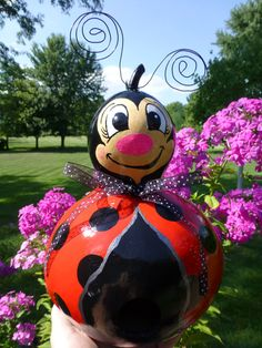 Ladybug Birdhouse Gourd Art Designs by by DesignsbySugarbear, $49.99 on ETSY and EBAY  Sweet Ladybug Birdhouse - makes a cute pair with the Bumble Bee - Original Designs by SUgarbear