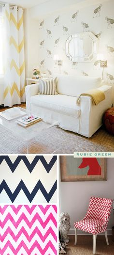 Love these Chevron curtains with grommets.