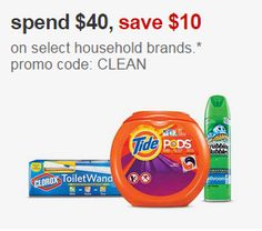 Target Coupon: Save $10 w/purchase of $40 in select household brands