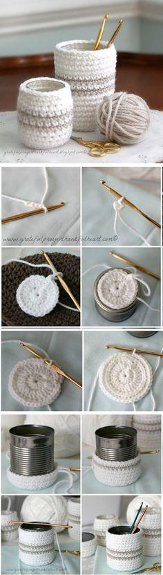Virkattu kori säilytys purkki säilykepurkki Crochet Cozy for Jars or Cans ❥ 4U hilariafina http://www.pinterest.com/hilariafina/