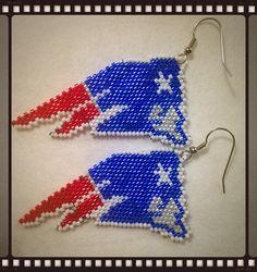 New England Patriot Earrings by AlaskaBunnyBeading on Etsy https://www.etsy.com/listing/245937457/new-england-patriot-earrings