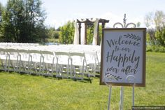 White and gold sign that says 'welcome to our happily ever after', outdoor wedding ceremony set up Formal Wedding, Wedding Ceremony, Signature Cocktail, Wedding Signage, Wedding In The Woods, Happily Ever After, Spring Wedding, Real Weddings, Wedding Cakes