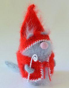 "Santa ""Claws"" Christmas Cat - Hand-knitted Toy Cat Amigurumi Miniature Collectible Kitty Handmade  Cat crochet New Year Gifts Kitten Plush"