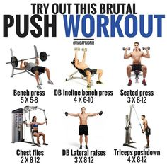 PUSH WORKOUT Part three of workout examples – Today I got a push day example for you guys. On a push day, you're essentially working out your pushing muscles which are chest, front/side delt, and triceps. Also, this is a great example of a push/pull/leg Push Pull Workout Routine, Push Pull Legs Workout, Push Workout, Workout Splits, Gym Routine, Exercise Routines, Fitness Workouts, Weight Training Workouts, Body Weight Training