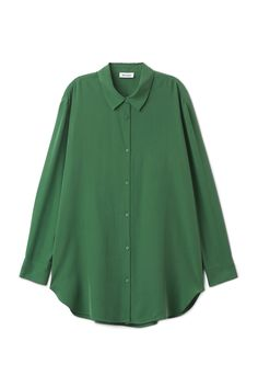 Model front image of Weekday conform cupro shirt in green