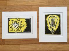 Save 20%! Hand pulled Moravian star and Edison bulb linocut block prints. Matted fine art prints, handmade.