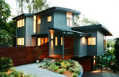 Cool Modern Exterior House Colors : Fantastic Modern Exterior House Colors With Dark Vinyl Siding