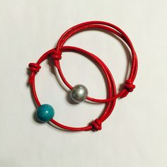 Pearl and turquoise red leather bracelets