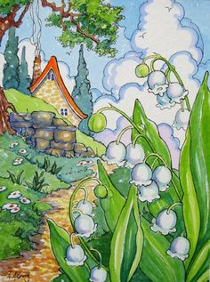 , Aunt Edna's Lily of the Valley Storybook Cottage print from Original Art. , Aunt Edna's Lily of the Valley Storybook Cottage note card set of 6 Cute Cottage, Cottage Art, Garden Illustration, Storybook Cottage, Retro Images, Lily Of The Valley, Whimsical Art, Watercolor Art, Illustrators