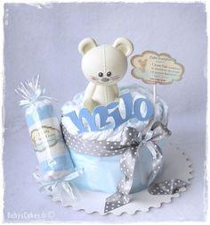 Mini gâteau de couches garçon candy Jo personnalisé - Jouet Vulli Joséphine la souris