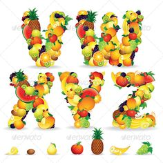 Colorful Letters from Fruits. Vector Clip Art  #GraphicRiver         Colorful Letters from Fruit and Berries. Vector Clip Art   - vector illustration with simple gradients   - vector graphics with CMYK colors for print   - zip file contains images: AI, CDR, EPS, JPG   Keywords: white, snack, collage, orange, kiwi, isolated, energy, healthy, vitamin, group, background, nutrition, health, border, juice, juicy, mixed, x, z      MORE VECTOR FONTS                                           …