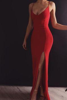 Sheath V Neck Spaghetti Straps Red Elastic Satin Long Prom Dresses Prom Dress V-neck V Neck Prom Dress Long Prom Dress Prom Dress Red Prom Dress Prom Dresses Long V Neck Prom Dresses, Mermaid Prom Dresses, Sexy Dresses, Red Mermaid Dress, Prom Dreses, Fitted Prom Dresses, Sexy Gown, Sexy Evening Dress, Sexy Maxi Dress