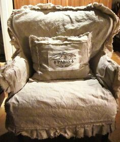 shabby chic slip covered chair by dovesanddahlias on Etsy, $225.00