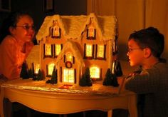 Detailed Instructions for Making a Lighted Gingerbread House. Get the gingerbread recipe plus learn how to make candy glass windows for a lighted house. Gingerbread Dough, Christmas Gingerbread House, Christmas Love, Christmas Goodies, Christmas Baking, Christmas Holidays, Gingerbread Houses, Christmas Ideas, Christmas Mandala