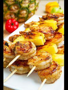 Pineapple and Shrimp Skewers