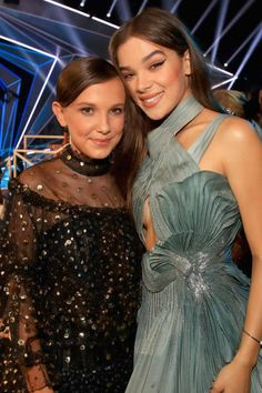 Millie Bobby Brown and Hailee Steinfeld attend the 2017 MTV Video Music Awards at The Forum on August 27 2017 in Inglewood California