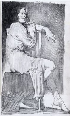 Life drawing of a human figure - sitting woman.
