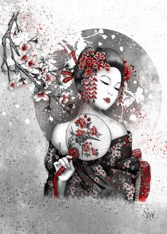 Under the Flowers by Marine Loup - cherrytree geisha sakura Illustration Geisha Tattoos, Geisha Tattoo Design, Geisha Kunst, Geisha Art, Japanese Tattoo Art, Japanese Tattoo Designs, Samurai Tattoo, Samurai Art, Cyber Tattoo