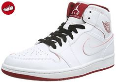 Nike Herren Air Jordan 1 Mid Sneakers, Weiß (103 White/Gym Red-Black), 43 EU - Nike schuhe (*Partner-Link)