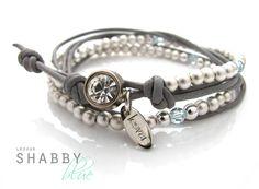 Armbänder - *Shabby blue* lässiges Lederarmband - ein Designerstück von LESVAR bei DaWanda