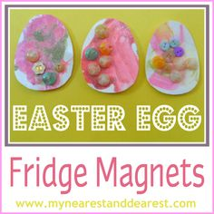Easter Egg magnets for the fridge - cute!  Could use paper plates for sturdy material
