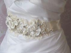 Creamy Ivory Bridal Sash, Wedding Belt, White, Champagne or Ivory Rhinestone and Pearl Flower Sash with Alencon Lace - COTTAGE GARDEN. $168.00, via Etsy.