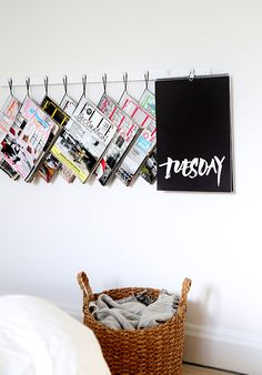 DIY magazine hanger using norrgavel hook + black string | Trendenser