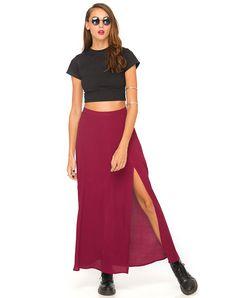 Buy Motel Marla Maxi Skirt in Oxblood at Motel Rocks - Motel Rocks