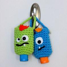 Monster Hand Sanitizer Cozies: free crochet pattern