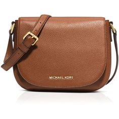 Michael Michael Kors Crossbody - Bedford Medium Flap Messenger (3.735 UYU) ❤ liked on Polyvore featuring bags, messenger bags, purses, accessories, luggage, leather crossbody bag, cross body messenger bag, crossbody bag, leather cross body and brown leather crossbody
