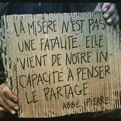 Misère - partage -abbé Pierre