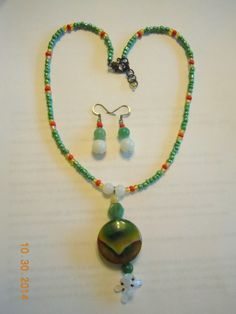 Agnysse - Agate pendant with jade and moonstone beads - set-1