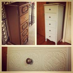 Upcycled dresser using textured wallpaper - ingenious!!!