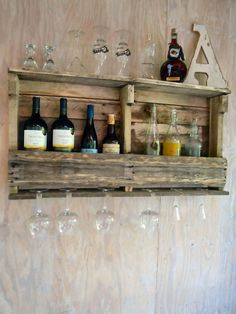 Wine Rack Wine Shelf Bar Shelf Liquor Shelf. Rustic by studioa47