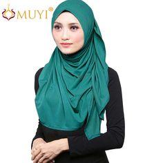 Women Hijabs Jersey Hijab Muslim Hijab Shawl Wrap Scarf Fashion Veilings Turban Cotton Islamic Stretch Bandana Big Size