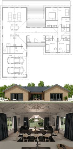 Floor Plan, Shipping container home plan, Modular house plan Ranch House Plans, Craftsman House Plans, Best House Plans, Dream House Plans, Modern House Plans, Small House Plans, House Floor Plans, Building A Container Home, Container House Design