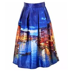 """Blue Watercolor Venice Italy Grand Canal Skirt ‼️PRICE FIRM‼️   Full Scene Skirt Size One Size  Retail $99  SPECTACULAR! Words can not describe how beautiful this skirt is. Beautiful & bold scenes. One size, waistband stretches to fit your waist. Side Zip. Half lined for the full feminine look. 100% polyester with a spandex elastic waistband. Please check my closet for many more items including designer clothing, scarves, jewelry, handbags, shoes & much more.  Waist 25""""-32""""  Length 26""""…"""
