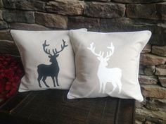Deer Pillow Cover with piping Trim, Decorative Pillow, Throw Pillow, Reindeer Pillow, Nursery Pillow