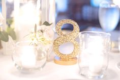 Gold Glitter Table Numbers for Wedding Decor Standing Wooden