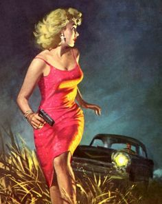 "Painting by Robert Maguire for the cover of the paperback ""A Night For Screaming"" by Harry Whittington."