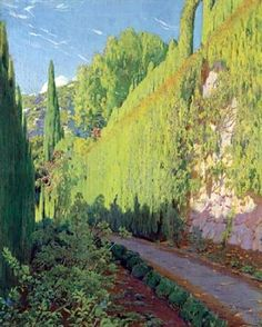 "art-and-things-of-beauty:""Santiago Rusiñol - Garden of Sa Coma, Valldemossa, oil on canvas, 99 x cm. Spanish Painters, Spanish Artists, Painter Artist, Artist Art, Landscape Art, Landscape Paintings, Landscapes, Green Paintings, Art Espagnole"