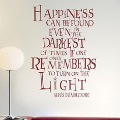 Harry Potter Decal Dumbledore Quote - Happiness can be found - Typographic Words Inspirational Art Poster Wall Art (Black, Small) Geckoo http://www.amazon.com/dp/B00N9NZ4YC/ref=cm_sw_r_pi_dp_vWpuvb1W3DZ7A