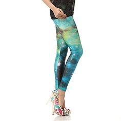 Galaxy Leggings, Ombre Leggings, Printed Leggings, Crazy Leggings, Green Galaxy, High Fashion, Women's Fashion, Galaxy Print, Roller Derby