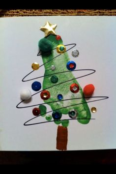 Christmas arts & crafts, foot print tree made for daddy