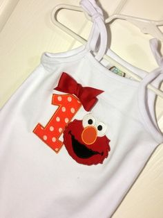 Baby Toddler Girls 1st 2nd orange polka dot elmo Birthday Party Tie Tank top, Romper or Onesie Personalized with Name and Age by EverleeBoutique on Etsy