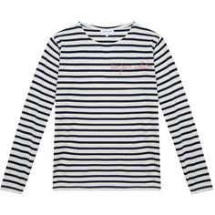 Maison Labiche Bonjour Webster Stripped Long Sleeve Top (120 AUD) ❤ liked on Polyvore featuring tops, white, white long sleeve top, embroidered top, embroidered long sleeve top, unisex tops and long sleeve tops
